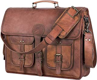 Leather Briefcase Laptop bag 18 inch Handmade Messenger Bags Best Satchel by KPL
