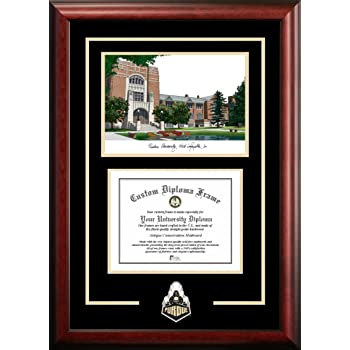 Campus Images Purdue University 9.625 x 7 Inches.625h Gold Embossed Diploma Frame with Lithograph