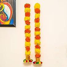 TIED RIBBONS Wall Door Hanging Artificial Marigold Flowers Garlands Bandhanwar Torans with Golden Bells- Diwali Decoration...