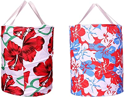 Kuber Industries Round Cloth Foldable Laundry Basket Bag Set of 2 Pcs, Volume:-30L,Multi Color, Standard (CTKTCVA38)