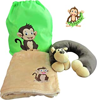 Life's Simple Answers Travel Pillow and Blanket Set – Plush Monkey Travel Neck Pillow, Custom Size Kids Travel Blanket and Matching Drawstring Backpack in This 3-Piece Travel Combo Set