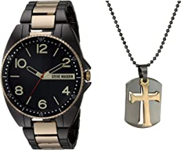 Steve Madden Link Watch with Dogtag Cross Pendant Chain Necklace Set for Men (Various Colors)