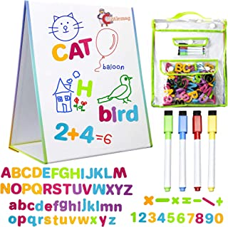 LittleMag Magnetic Easel and Whiteboard for Kids – 4 Dry Erase Markers, 72 Magnet and Foam Numbers and Letters, and Bonus Carrying Bag – Table Top Educational Children's Play Set
