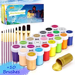 comprar comparacion Pintura Acrílica, Gifort 21 x 20 ml Kit de Prima Pintura Acrílica con 10 pinceles, No Tóxicos Disponible para niños, Pigme...