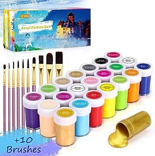 Gifort 21 Couleurs Peinture Acrylique (20 ML), Kit de Peinture Acrylique Non Toxique avec 10 Pinceaux pour Enfant Débutant...