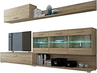 HomeSouth - Mueble de Comedor, modulo Salon Vitrina con Led, Modelo Zafiro, Acabado Color Cambria, Medidas: 250 cm (Ancho) x 39,6 cm (Fondo)