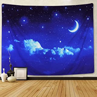 Moon and Stars Tapestry Wall Hanging White Cloud Tapestry Blue Starry Tapestry Galaxy Tapestry Universe Night Sky Wall Tapestry Space Decor Tapestry for Bedroom Living Room Dorm Room