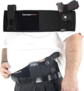 ComfortTac XL Ultimate Belly Band Holster for Concealed Carry | Black | Fits Gun Smith and Wesson Bodyguard, Glock 19, 17, 42, 43, P238, Ruger LCP, and Similar Sized Guns | for Men and Women