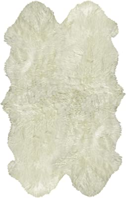 Natural Luxury Soft Premium Quality Durable Thick & Lush New Zealand Sheepskin Wool Fur Area Rug, 4 ft x 6 ft, Natural