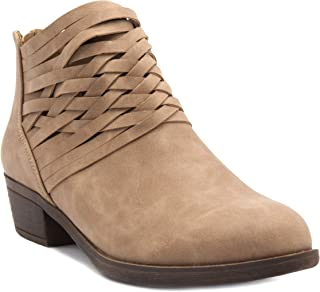 Rampage Women's Rhodie Dress Block Heel Ankle Boot, Ladies Back Zip Bootie with Criss Cross Wraparounds Taupe 8