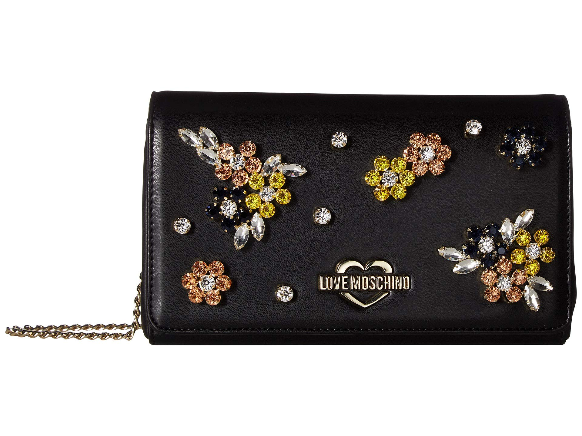 Love Black Flower Hardware Moschino Bag Evening With qrwH74q