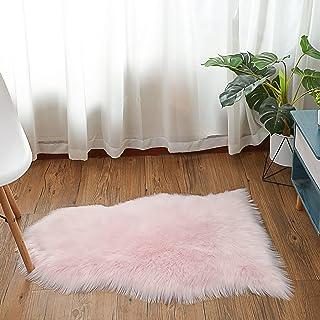 HEQUN Antislip-lamsvacht-tapijt, kunstbont, schapenvacht, imitatie, woonkamer, tapijt, pluizig, gezellig, schapenvacht, be...