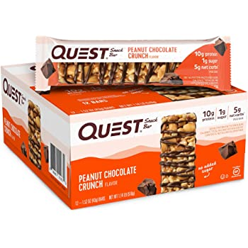 Quest Nutrition Peanut Chocolate Crunch Snack Bar, High Protein, Low Carb, Gluten Free, Keto Friendly, 1.52 Ounce (Pack of 12)