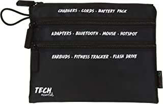 "MIAMICA Tech 3-Zip Organizer Pouch with White Print""Tech Essentials"""