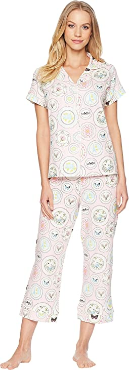 Pink Plates Short Sleeve Cropped Pajamas