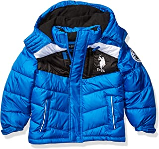 US Polo Association Boys' Little Bubble Jacket, Color Block Blue Tile, 7