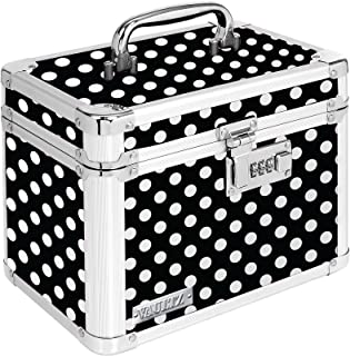 Vaultz Combination Lock Box, 7.75 x 7.25 x 10 Inches, Black and White Polka Dot (VZ03714)