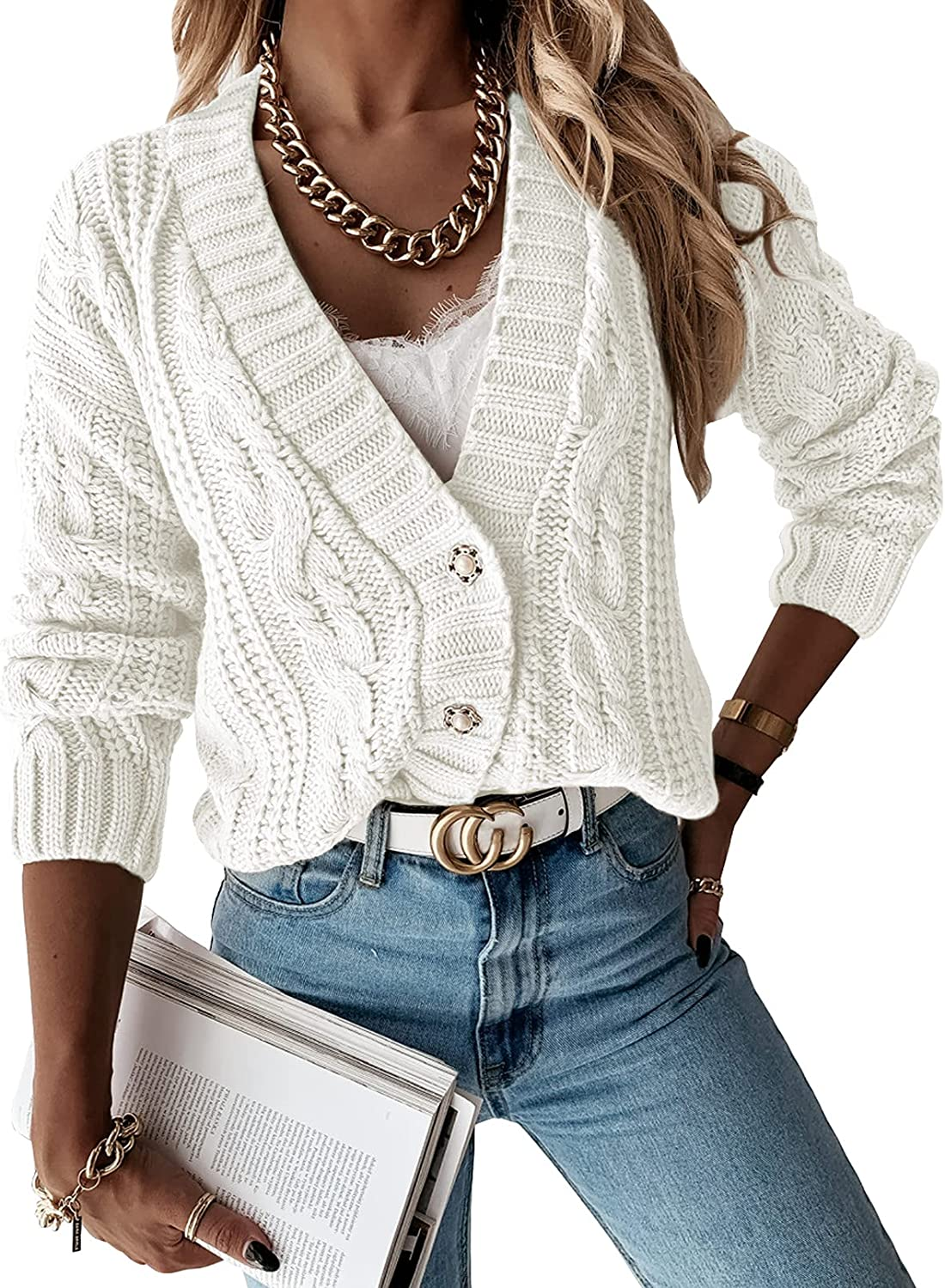 Astylish Womens Open Front Cardigan Knit Sweater Outerwear Coat with Button