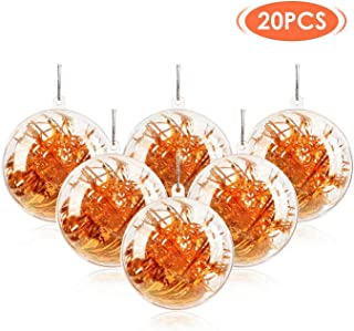 SUPTEMPO 20 Pack DIY Christmas Ornament Balls Christmas Decorations Tree Ball Clear Fillable Baubles for Xmas New Years Present Holiday Wedding Party Home Decor +100m Silver Lanyard