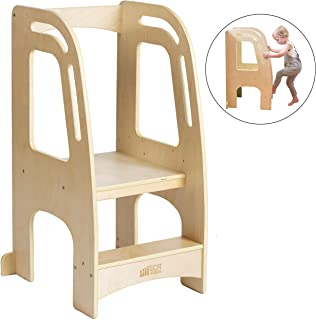 ECR4Kids Chef's Helper Kitchen Tower, Natural Wood Toddler Step Stool, Kids Adjustable Kitchen Stool with Safety Rails, Natural