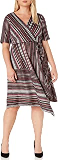 GABBY SKYE Women's Plus Size Elbow Sleeve V-Neck Printed A-line Dress