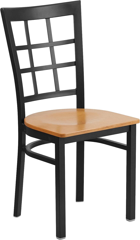 Flash Furniture Hercules Series Black Window Back Metal Restaurant Chair - Natural Wood Seat