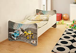 BEST FOR Kids Children s Bed With MATTRESS T V CERTIFIED SUPER SELECTION SIZES MANY DESIGNS  80x180  Construction Vehicles