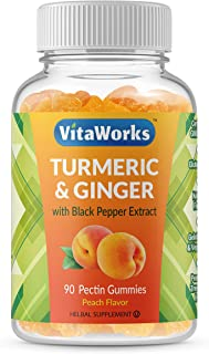 VitaWorks Turmeric Curcumin with Ginger & Black Pepper Extract – Great Tasting Natural Flavor Gummy –Vegetarian GMO-Free T...