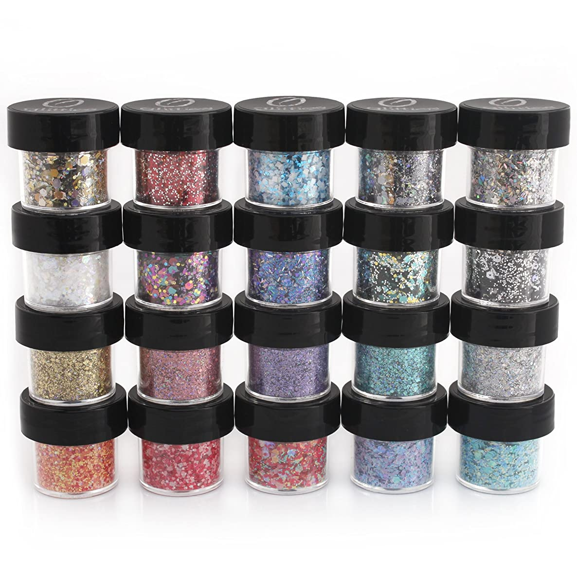 Mixed Glitter 20 Piece Kit – Includes Solvent Resistant Dust, Powder, Hexagon, Holographic, Matte Glitters - Great for Nail Art Polish, Gels, Art and Crafts, Paints & Acrylics Supplies - 1/4 OZ Jars