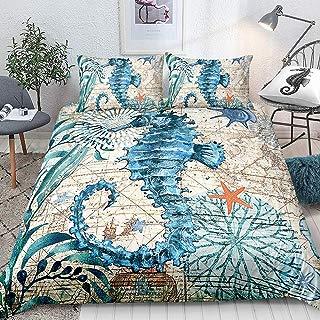 Hippocampus Bedding Seahorse Duvet Cover Set Marine Mediterranean Style Quilt Cover Teal Ocean Bedding Sets Queen 1 Duvet Cover 2 Pillowcases (Queen, Seahorse)
