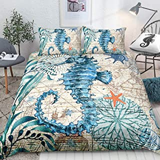 Hippocampus Bedding Blue Seahorse Duvet Cover Set Teal Marine Mediterranean Style Quilt Cover Teal Ocean Bedding Sets Twin 1 Duvet Cover 1 Pillowcase (Twin, Seahorse)