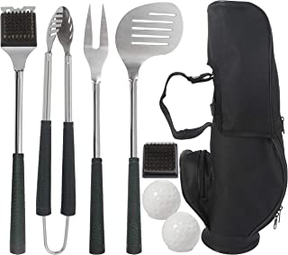 Grilljoy 8pcs Heavy Duty BBQ Grill Tools set.Extra Thick Stainless Steel Spatula,Fork,Tongs & Cleaning Brush.Complete Golf-Style Grilling Accessories with Long Heat-resistant Grip.Dishwasher Safe