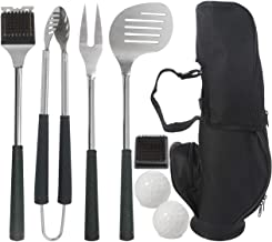 grilljoy 8pc Golf-Club Style BBQ Grilling Set with Long Heat Proof Grips, Stainless Steel BBQ Grilling Utensils in Golf-Club Bag, for Housewarming, Camping and Tailgating