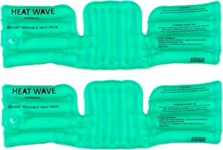 """HEAT WAVE Instant Reusable Heat Packs- Back/Shoulder/Neck (6 x 18""""), Reusable Heat Pack for Muscle Aches 2-Pack, Pain Relief, Click Heat - Made in USA"""