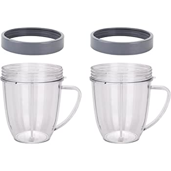 Fits Nutribullet Blenders 600W//900W//1000W//1200W,Replacement for Nutribullet Max Cups,Replacement Cups with Comfort Handel and Screw Off Lip Ring 1 Pack 18 Ounce Short Capacity Cup with Lip Rings