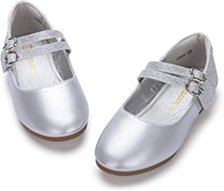 Toddler Girls Daisy Dress Shoe Wedding Party School Uniform Ballet Mary Jane Slip On Flats Shoes (9 M US Toddler, Silver Glitter+Silver Patent)