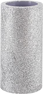 Flameless Led Candle with Timer, Battery Operated Pillar Candle with Silver Glitter for Christmas and Thanksgiving Decoration, 3x6 Inch