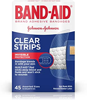 Band-Aid Brand Clear Strips Bandages,  Assorted Sizes for discreet First Aid,  Assorted Sizes,  45 ct