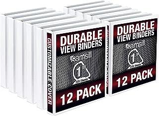 Samsill Durable 1 Inch D Ring Binder/Customizable Clear View Binder/Bulk Binder 12 Pack/White 3 Ring Binder/One Inch Binder