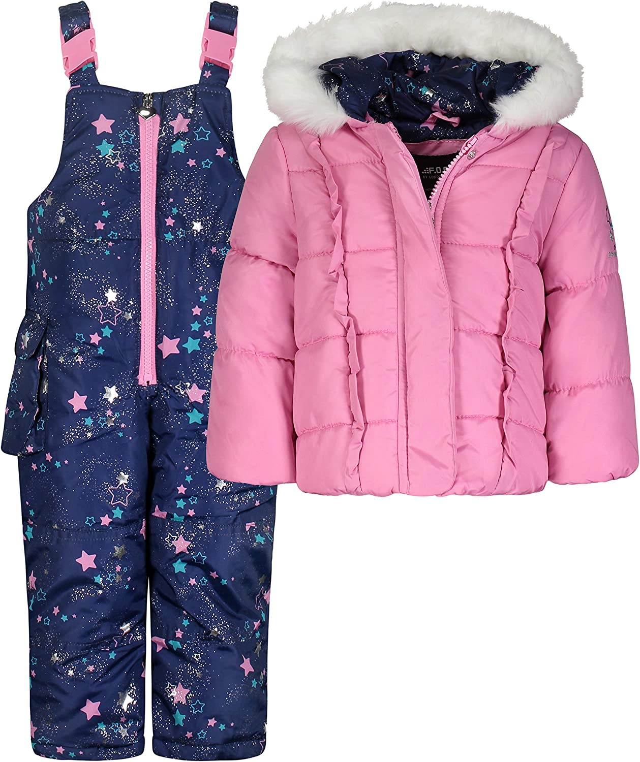LONDON FOG Girls Snowsuit with Snowbib and Puffer Jacket