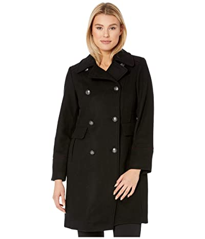 Vince Camuto Double Breasted Wool Coat V29768 (Black) Women