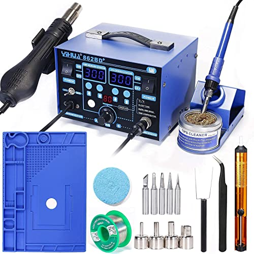 """2021 YIHUA 862BD+ Professional new arrival Soldering popular & Rework Station bundle with 17.32"""" x 12.20"""" M180 Electronic Repair Mat with Iron Holder, Soldering Cleaning Kit, and Accessories (20 Items) online"""