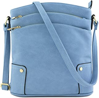 8b53db2715 Triple Zip Pocket Large Crossbody Bag