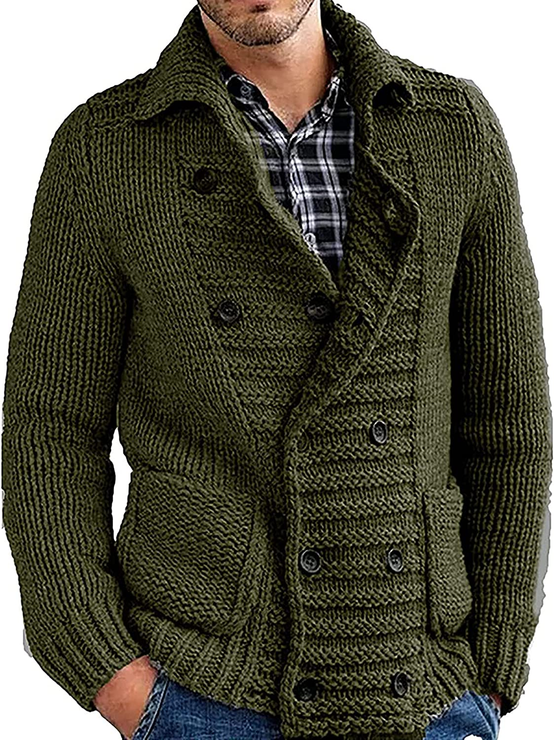 Men's Casual Lapel Double Breasted Cardigan Knitted Button Fall Winter Sweaters with Pockets