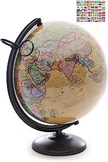 مجسم الكرة الأرضية 30.48 سم مع حامل معدني وزجاج مكبّر. طاولة مثالية للكبار، والأطفال. نسخة 2020 تتضمن ملصقات العلم الوطني