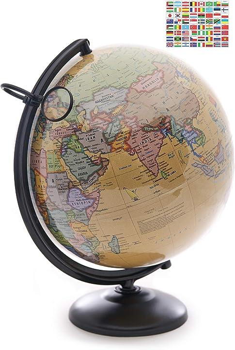 Mappamondo da 30 cm con supporto in metallo e lente d`ingrandimento omishome idea regalo bambino B07SSCKLDY