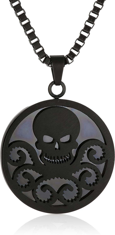 Marvel Comics Unisex Hydra Black Stainless Steel Chain Pendant Necklace, 24