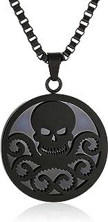 "Marvel Comics Unisex Hydra Black Stainless Steel Chain Pendant Necklace, 24"""