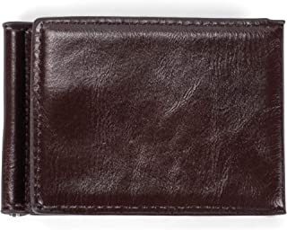 Tri Fold Money Clip Natural Brown 4.5 x 3.25 Faux Leather Classic Wallet