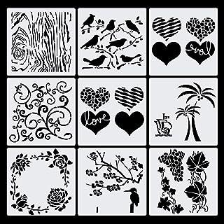 Haosell Pochoirs de dessin pour enfants - En plastique - Journal - Accessoires - Pochoirs - Motif oiseau, arbre, fleurs, r...